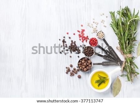 スパイス ハーブ 料理 木製 ストックフォト © karandaev