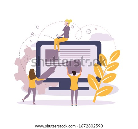 IT specialists team creating webpage on computer screen vector illustration. Stock photo © RAStudio