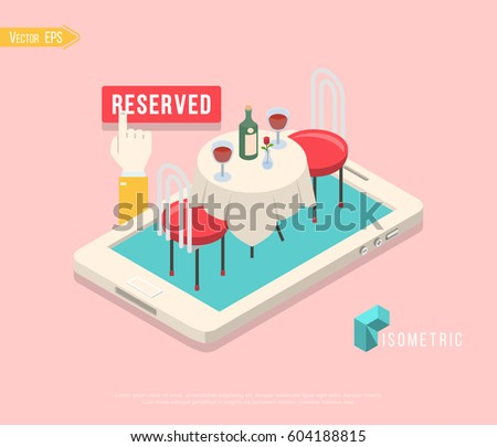 Stock photo: Flat isometric vector concept of table online reservation, mobile booking.