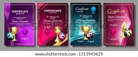 Bowling certificaat diploma gouden beker vector Stockfoto © pikepicture
