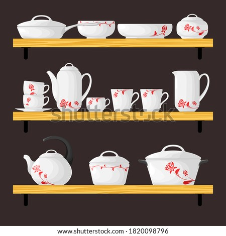 Three shelves with dishes. Cookware set in cartoon style. Vector Stock photo © Arkadivna