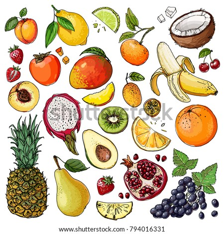 Vector background with tropical fruits. Pitahaya or pitaya , kiwi, passion fruit, fig, papaya. Creat Stock photo © user_10144511