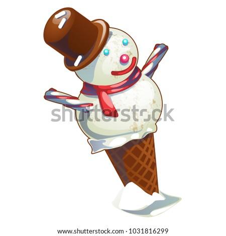 fagylalt · waffle · kúp · karácsony · stílus · forma - stock fotó © Lady-Luck