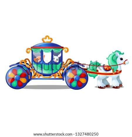 Animated circus horse or pony carries small animals in the carriage isolated on white background. Ve Stock photo © Lady-Luck