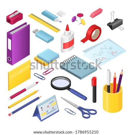 Ceruzahegyező irodaszer szett vektor műanyag oktatási Stock fotó © pikepicture