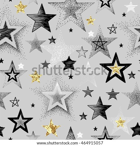 vector seamless pattern with gold and gray stars on white background for graphic design stock photo © pravokrugulnik