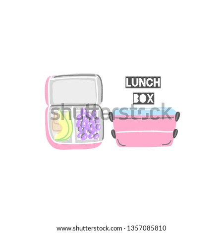 closed and open pink lunchboxes lunch box with food hand drawn containers for snack cute design stock photo © user_10144511