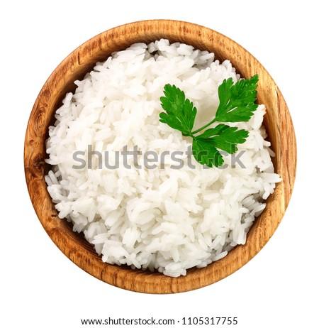 White bowl with boiled organic basmati jasmine rice with black chopsticks and sweet soy sauce on bam Stock photo © DenisMArt