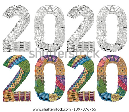 Number 2020 Zentangle. Vector decorative object. Colored and outline set Stock photo © Natalia_1947