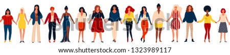 Modern seamless border with international group of happy women or girls standing together and holdin Stock photo © brahmapootra