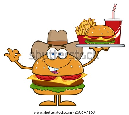 cowboy hamburger cartoon character holding a platter with burger french fries and a soda stock photo © hittoon