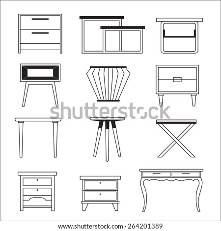 Classic table furniture Vector. Detailed front view with engrave Stock photo © frimufilms