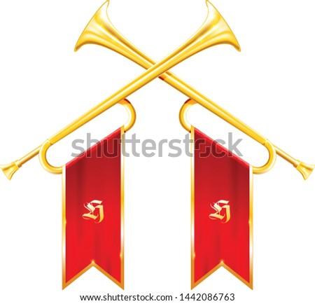 Antieke koninklijk hoorn trompet zegevierend vlag Stockfoto © Winner