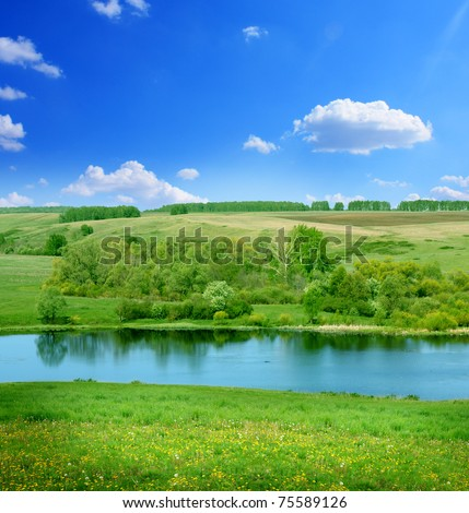 colorful summer bright fields with river landscape green grass and trees cloudy sunrise sky stock photo © marysan