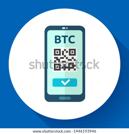 Send bitcoin icon, phone with qr code on screen, cryptocurrency transaction, exchange and transfer t Stock photo © MarySan