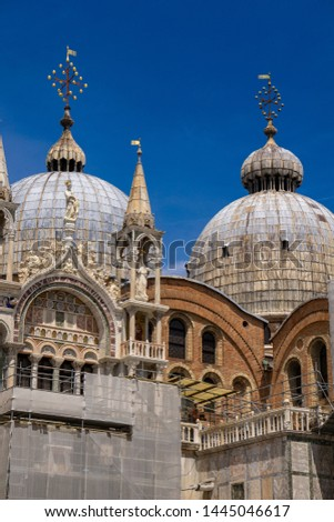 Architectural details from the upper part of facade of San Marco Stock photo © boggy