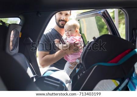 feliz · criança · sessão · carro · assento · pai - foto stock © lopolo