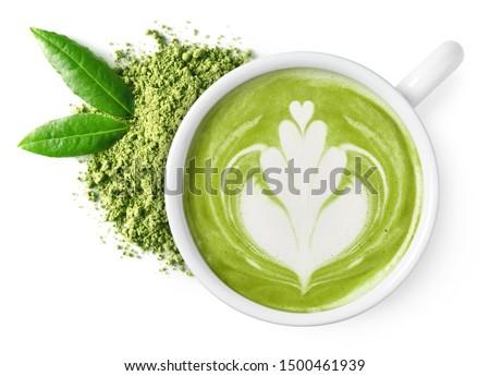 Thé vert forme de coeur art blanche tasse table en bois Photo stock © Freedomz