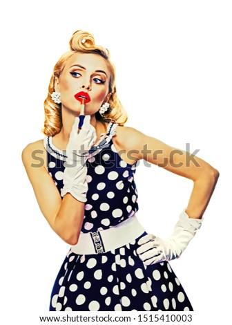 Güzel bir kadın lekeli elbise ruj güzel Stok fotoğraf © dashapetrenko