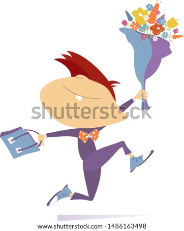 Running boy with a bouquet of flowers and a school bag cartoon illustration Stock photo © tiKkraf69
