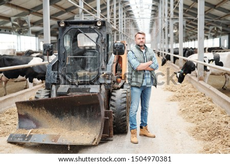 Successful staff of farmhouse standing by tractor in front of milk cows Stock photo © pressmaster