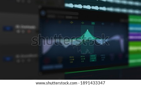 Waveform sound visualization on computer screen with audio editor in front Stock photo © pressmaster