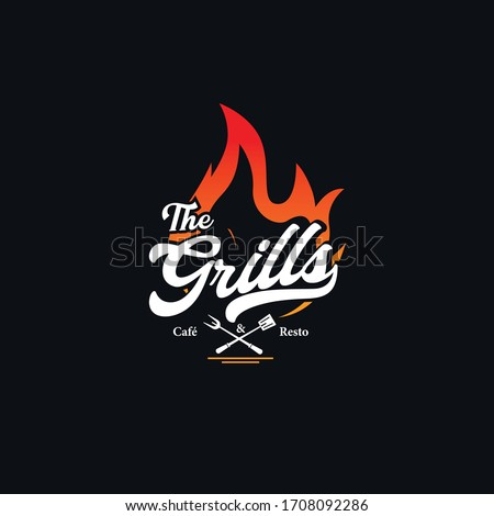 meat logo logo for grill house restaurant with icon fire knife stockfoto © foxysgraphic