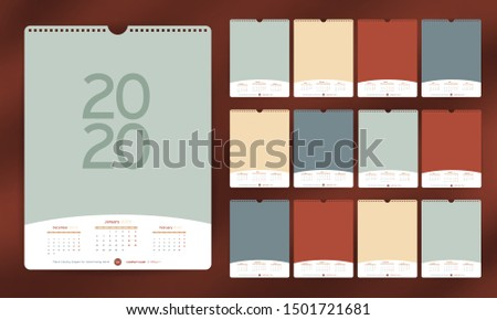 Calendar 2020 year Grid template in Portrait and Landscape simple style. Week starts from Sunday. St Stock photo © kyryloff