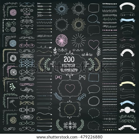 Calligraphic corners and decorative elements on chalkboard background - vector set Stock photo © blue-pen
