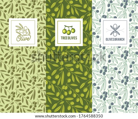 set of olive oil flyer templates design element for logo label sign poster stock photo © masay256