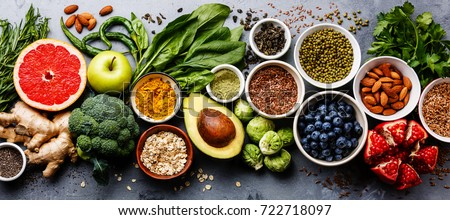 Healthy food selection, clean eating. Fruit, vegetable, seeds, superfood Stock photo © Illia
