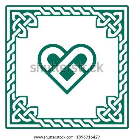 Celtic vector pattern heart shape - love concept, braided heart frame, greeting card for St Patrick' Stock photo © RedKoala