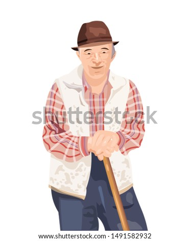 Old man Vector isolated on white. Farmer smilling cartoon characters Stock photo © frimufilms