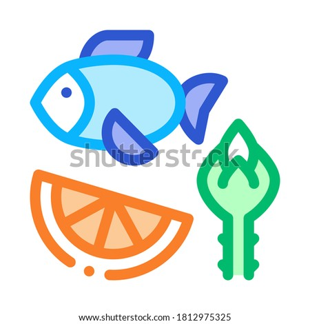 Nutrients of Fish and Fruit Biohacking Icon Vector Illustration Stock photo © pikepicture