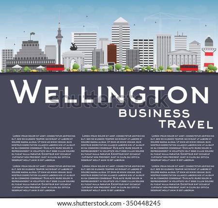 Wellington linha do horizonte cinza edifícios blue sky cópia espaço Foto stock © ShustrikS