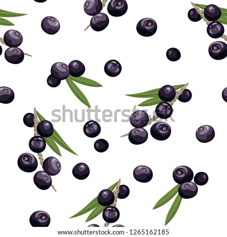 Seamless pattern with ripe acai berries, leaves. Brazilian superfruit. Euterpe oleracea. Superfood f Stock photo © user_10144511