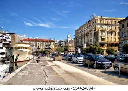 Town of Rijeka main square and clock tower view. European capita Stock photo © xbrchx
