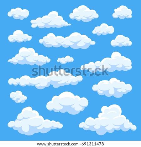 Cielo azul blanco nubes Cartoon estilo diseno Foto stock © olehsvetiukha