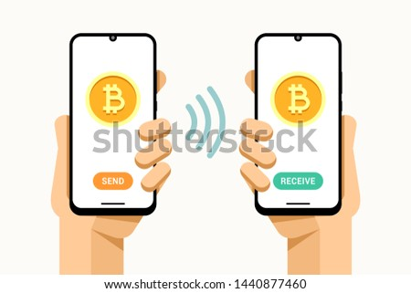 Mão humana enviar bitcoin Foto stock © karetniy