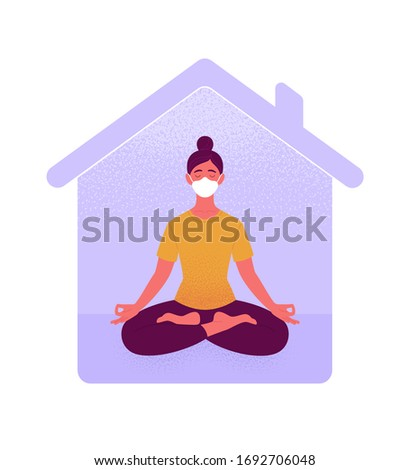 stay home stay calm meditating silhouette sitting in lotus position vector illustration stock photo © ikopylov