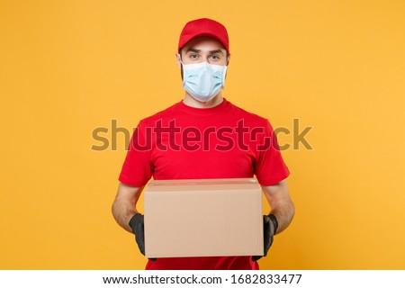 Koerier masker medische handschoenen coronavirus Stockfoto © Illia