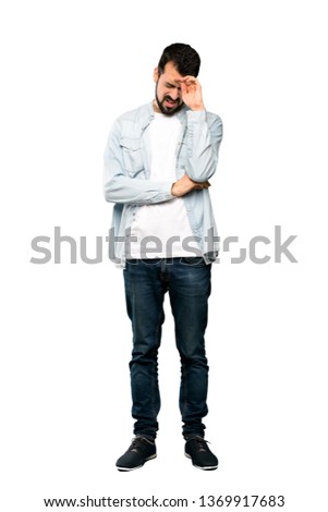 Adult hispanic man over isolated background depressed and worry for distress, angry and afraid. Sad  Stock photo © benzoix