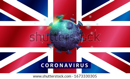Warning sign with bacteria of Coronavirus on the British flag. Stock photo © artjazz