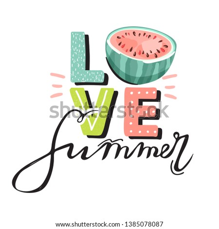 Fruit design with summer vibes typography slogan and fresh fruit and lemonade on light green backgro Stock photo © BlueLela