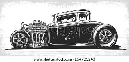Vintage hot rod voiture classique flammes isolé Photo stock © jeff_hobrath