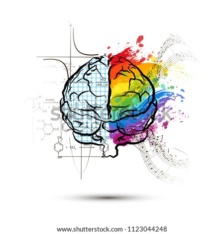 Technical and art hemispheres on human brain in front view, left and right brain functions concept o Stock photo © evgeny89