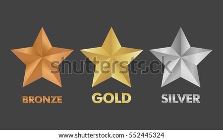 Establecer brillante dorado plata bronce ganador Foto stock © evgeny89