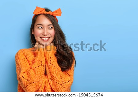 изображение молодые брюнетка азиатских женщина улыбается Сток-фото © deandrobot