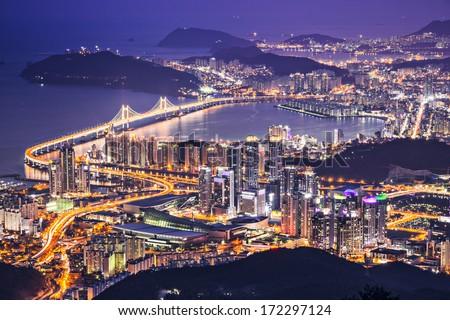 Gwangan Bridge and skyscrapers in the night. Busan, South Korea Stock photo © dmitry_rukhlenko