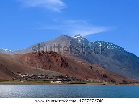 Korzok village at Himalayan lake Tso Moriri, Changthang region, Ladakh Stock photo © dmitry_rukhlenko